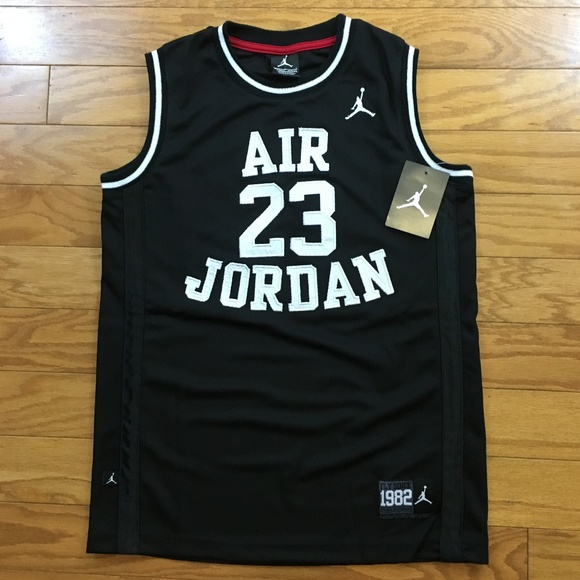 brand new 1dbe7 df185 Authentic Air Jordan Basketball Jersey Black White NWT